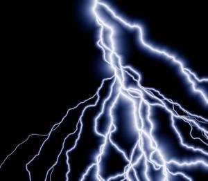Lightning streaking across the sky