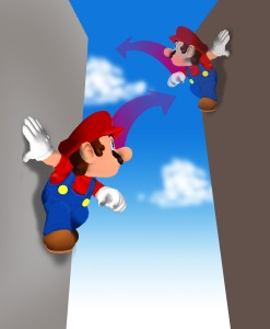 Mario jumping from wall to wall