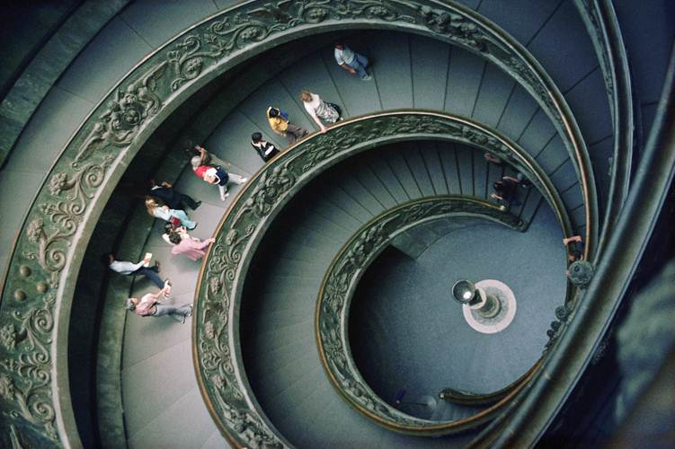 A huge spiral staircase seen from above