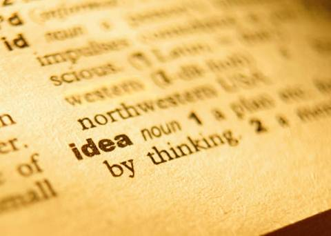 A photograph of a dictionary page defining the term 'idea'
