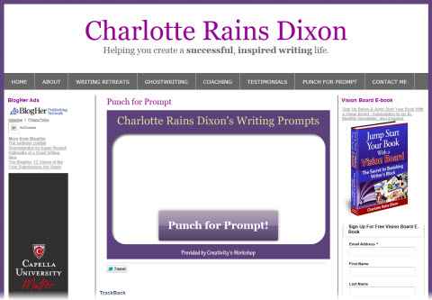 A screen capture of the Punch for Prompt page on Charlotte Rains Dixon