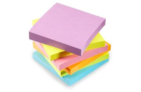 A pile of sticky notes in interesting colours.