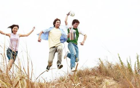 Creatively restless people jumping over a hill...because that's what creatively restless people do.