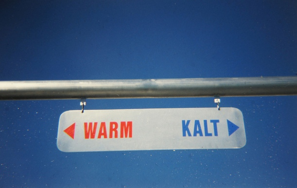 A sign offering two options: Warm and Cold